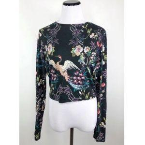 Alice + Olivia Delaina Cropped Floral Top